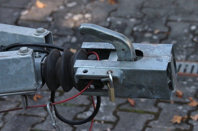Close up of a trailer's hitch with wires